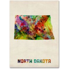 Trademark Fine Art North Dakota Map Canvas Wall Art by Michael Tompsett, Size: 35 x 47, Multicolor