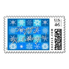 """Unique, trendy, chic and stylish Christmas holiday greetings mail postage. With white snow and ice flakes pattern design on pastel, light, medium and dark blue squares background, and """"Happy Holidays!"""" wish text. Original, cute and fun but also elegant and classy stamps to personalize your December winter season wishes and greetings with."""
