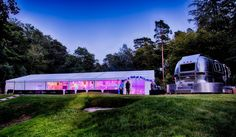 Clear span frame tent which housed the Ice Rink - complete with Airstream catering van. Catering Van, Ice Rink, Airstream, Tent, Environment, Display, Frame, Party, House