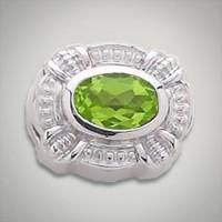 Sterling silver slide from the Caerleon Coloures Collection featuring an 8 x 6 millimeter oval peridot Metal:Sterling Silver Designer:Goldman-Kolber $ 140.00 Item #: 7Z65E1 Call 870-863-8818 for personal consultation.