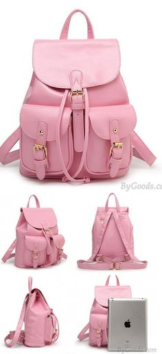 Leisure Pink Beam Port Dual Gril's Rucksack Front Pockets College Backpack for big sale! #pink#leisure #school #backpack #Bag #college #fashion #rucksack #student #book