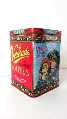 Vintage Verzamelbare Retro Verkade blik ' Verkade Zachte Toffees '