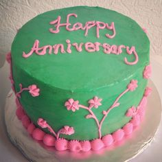 Pink and green iced cake