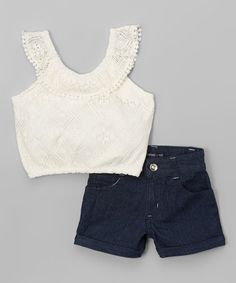 Look what I found on #zulily! Ivory Lace Yoke Crop Top & Jean Shorts - Infant, Toddler & Girls #zulilyfinds