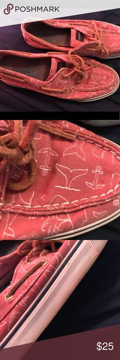 Nautical Sperrys Red Sperrys with nautical design, definitely worn but still in great condition , the bottoms are worn with discoloration but who sees the bottoms! I have gotten many compliments on these but my shoe rack is overflowing and I need to downsize.. no box Sperry Top-Sider Shoes Sneakers