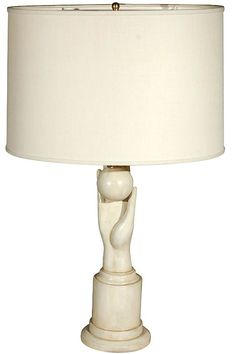 Carved Hand and Ball Table Lamp