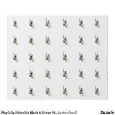 Playfully Adorable Black & Green Watercolor Frog Wrapping Paper   Zazzle
