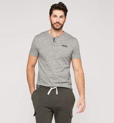 Henley-Shirt in grau-melange