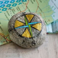 Travel Stone - Compass // gift for travelers // gold, turquoise, green, blue, black // travel along & stay connected Rock Crafts, Arts And Crafts, Stone Painting, Rock Painting, Rock Sculpture, Farewell Gifts, Seashell Art, Using Acrylic Paint, Friendship Gifts