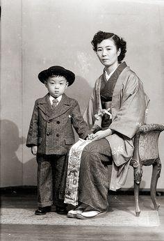 Woman & Child in Kimono & Suit, Vintage Japan | by Vintage Japan-esque