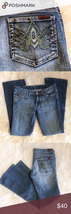 """7 For All Mankind jeans A pocket boot cut size 27 Overall good used condition, gently worn, no rips or stains. Size 27, measurements are laying  flat; waist-15"""", inseam-29"""" ( jeans were altered) 7 For All Mankind Jeans Boot Cut"""