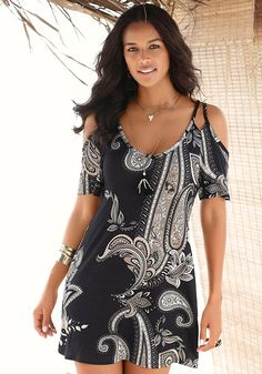 PAISLEY PRINT DRESS Cold shoulder styling and paisley prints are two of this season's trendiest looks! This print dress with its deep scoop front and short length adds some flirty fun to this wear-it-anywhere casual style. Casual Day Dresses, Summer Dresses, Mini Dresses, Beach Dresses, Party Dresses, Formal Dresses, Black Cold Shoulder Dress, Formal Dress Shops, Paisley Print Dress