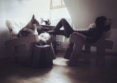 Simple and cozy moments with my wolfdog Maya, chilling in the cabin. Sumava, Czech Republic