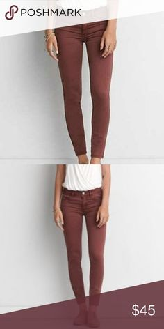 AEO Sateen X Jeggings in Berry Jam Mauve/Burgundy Color. Size 6 regular. Low Rise. Super Stretch. Style 2713. NWT American Eagle Outfitters Pants Skinny