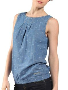 Sleeveless chambray top with all over printRelaxed fitBench branded trimsBench embroidered logo at Chambray Top, Bench Clothing, Indigo, Tank Man, Street Wear, Denim, Tank Tops, Blouse, Jeans