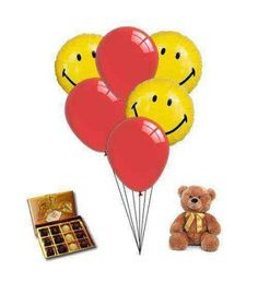 """Sending Sweet Smile"" Balloons 3 smiley face balloons with 3 red latex balloons with Chocolate truffles and Plush"