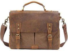 [Visit to Buy] Vintage Crossbody Bag Military Canvas + Leather shoulder bags Men messenger bag men leather Handbag tote Briefcase Leisure bag