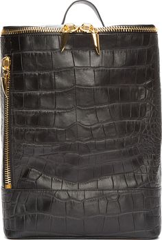 Giuseppe Zanotti - Black Croc-Embossed Leather Navako Backpack | SSENSE
