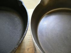"""Cast Iron Cookware   Old vs New   Pre-WW2 pans are lighter in weight & the walls & bottom are thinner than a modern Lodge skillet, having a much smoother interior surface as a result of the superb iron ore that was found near Lake Erie & also the machining that is no longer done to save on labor expense. Left: a Lodge 8SK 10.5"""" skillet. Right: a Favorite Piqua Ware skillet of the same size. The Lodge is probably 16 years old while the Favorite is at least 74 years old."""