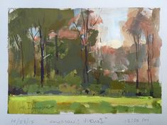 Marc Hanson - Quick gouache notations while students paint from memory. Gouache on card stock, 5x7.