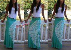 Fold Over Waist Mint Green Circle Boho Tie Dye Long Maxi Knit Skirt Beach