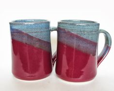 Set of 4 Large Handmade Ceramic Mugs Two by crutchfieldpottery