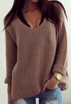 b61470b89d4 Outfit that allows you to still wear your bralettes from summer. Coffee  Plain Hollow-out V-neck Long Sleeve Loose Vintage Casual Pullover Sweater  ...