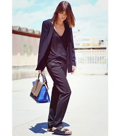 @Who What Wear - Arty Filles                 A sleek outfit, like this fashionphile's Zara vest, top, and Sandro pants, looks even fresher teamed with Birkenstock's Black Birko-Flor Arizona Sandals ($90).
