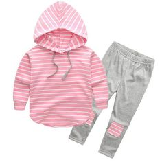 Younger Tree 2pcs Toddler Baby Girl Clothes Set With Long Sleeves Stripe Print Hoodie Outfits Tops Pants Clothes Sets 6 T >>> Click image for more details.(It is Amazon affiliate link) #GirlsClothingIdeas