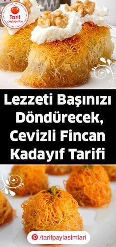 Sizlere yapılışı çok eğlenceli ve pratik olan bir tatlı tarifi vereceğim. İçerisi bol bol kaymak ve ceviz içi ile karıştırılmış bir harç, dışı da çıtır çıtır olan ve bittiğinde nar gibi kızaran bir tatlı düşünün. Tatlımızın adı, Cevizli Fincan Kadayıf Tarifi. #tatlıtarifleri #tatlitarifleri #fincankadayıftarifi #cevizlikadayıftatlısı Turkish Recipes, Yogurt, Food, Essen, Meals, Yemek, Eten