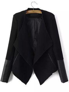 Black Long Sleeve Contrast PU Leather Zipper Coat