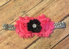Shabby flower zebra hot pink headband baby girl toddler #bowtifulblessings