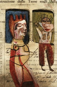 Finestre by Giuseppe Ragazzini, mixed media on paper