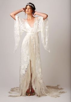 20 Fringe Wedding Dresses That Catch An Eye: #6. Boho gypsy yet elegant and romantic bridal gown with fringe