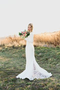 Modern Wedding Dress with a Lace Train | Amanda Hendrickson Photography | Blush and Gold Boho Bride at Magic Hour