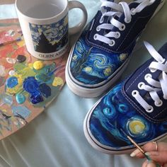 Handpainted Starry Night Shoes | TheArtSwallow