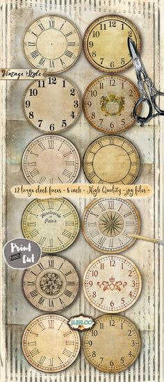 Rice paper for decoupage decopatch scrapbook craft sheet vintage vintage clock 8 inch circle printable clock face jpeg clipart vintage home decor diy paper crafting download digital collage tn539 fandeluxe Gallery