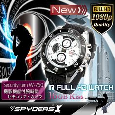 赤外線ライト付 腕時計型カメラ(スパイダーズX-W760)自動点灯式赤外線ライト付、16GB内蔵 | リアルストア通販 総合ショッピング通販サイト Breitling, Watches, Wristwatches, Clocks