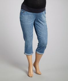Loving this Blue Over-Belly Maternity Capri Jeans - Women on #zulily! #zulilyfinds