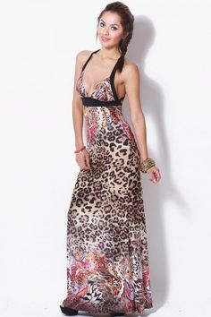Trendy Cute animal print backless summer evening maxi dress fo cheap | Affordable Clothing | 1015 store