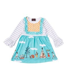 224c67ec16e1 Royal Gem Teal & Orange Stripe Pilgrim A-Line Dress - Newborn, Toddler &  Girls
