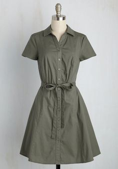 Smoothie Enthusiast A-Line Dress in Olive - Green, Work, Vintage Inspired, 40s, 50s, A-line, Shirt Dress, Short Sleeves, Summer, Woven, Better, Exclusives, Private Label, Mid-length, Variation, Casual, Safari, Minimal, Fall, Buttons, Pockets, Belted, Military, Fit & Flare, Collared, HP Featured