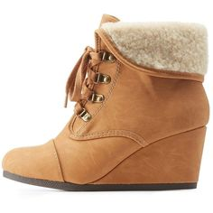 Charlotte Russe Tan Shearling-Cuffed Wedge Booties by Charlotte Russe... (56 CAD) ❤ liked on Polyvore featuring shoes, boots, ankle booties, tan, lace up booties, wedge bootie, flat ankle boots, flat booties and lace up boots