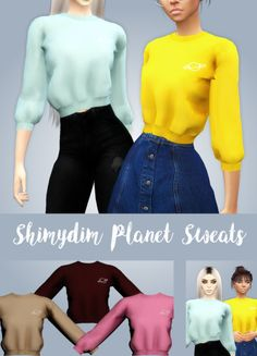 [TS4] - PLANET SWEATS• 10 colors • New mesh, all LOD, new texture 100% made by me • Base Game Compatible • HQ compatible (pictures taken without HQ mod) • Sims 3 version here • Recolor / retexture is...