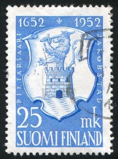 FINLAND 1952: stamp printed by Finland, shows the arms of Pietarsaari.