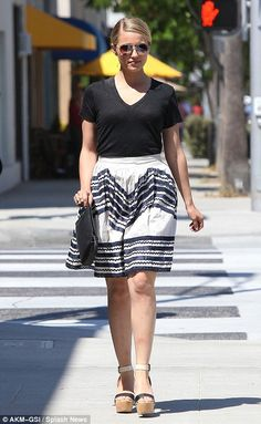 You looks way cute in your awesome outfit Dianna... :-) #DiannaAgron and #Fashion   All-American girl chic: Dianna Agron looks graceful in A-line skirt and slick side parting