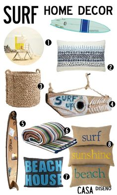 S Surf Art Surfer Decore Beach Prints Custom Colors Surfing Decor 45 00 Via Etsy Elements Pinterest