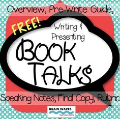 FREE! Book talks are a wonderful way for students to demonstrate their understanding of books they read while practicing their writing and speaking skills. The resources in this product are designed to help students create the most engaging and comprehensive book talks possible.