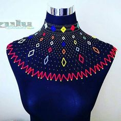 This cape Zulu beaded jewelry set is ideal for wearing over a broad shoulder dress or shirt. It is absolutely gorgeous and will complement any outfit. It is worn by Zulu women at weddings and special occasions. African Necklace, African Beads, African Jewelry, African Accessories, Neck Accessories, Beaded Collar, Collar Necklace, African Attire, African Fashion Dresses