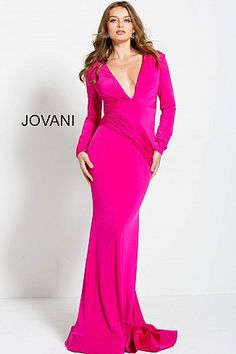Hot Pink Long Sleeve Plunging Neck Prom Gown 61385  LowVNeckDress   PlungingDress  Prom   c85fd7bd0